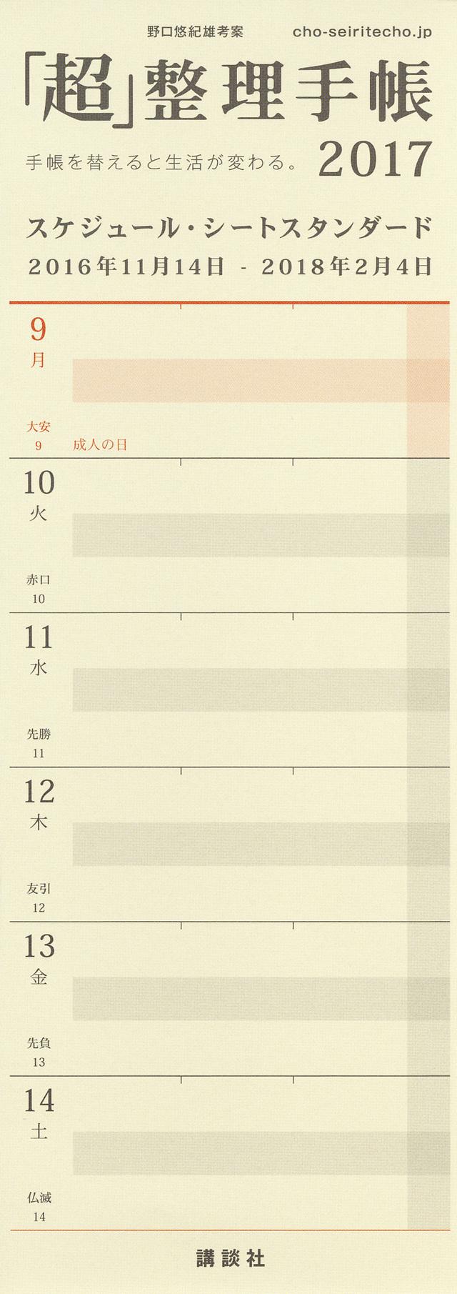 「超」整理手帳 スケジュール・シート スタンダード2017